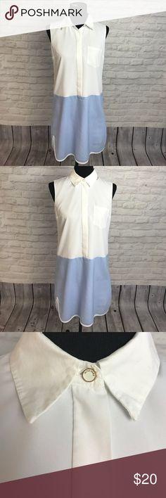 Altuzarra for Target shirt dress Collared sleeveless shirt dress. White upper, blue & white pinstriped bottom. Lightweight material. Built in slip. Altuzarra for Target Dresses