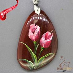 UNIQUE NECKLACE HAND PAINTED FLOWER GEMSTONE PENDANT BEAD ZL809198 #ZL #Pendant