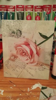 Servet op canvas en eromheen geverfd