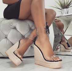 DiJiGirls Fashion Sandals Wedges Women Shoes Clear Pvc Weave Heel Beach Sandals Lace-up Wedge Shoes Super High Heel Pumps White Peep Toe Espadrilles, Wedge Sandals, Wedge Shoes, Pump Shoes, Women's Pumps, Shoes Heels, Lace Up Wedges, Ankle Strap Wedges, Black Platform Sandals