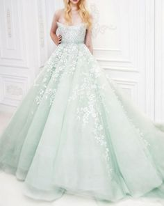 YW091 Gorgeous Light Green Stunning Beading Wedding Dress 2016 Ball Gown Chapel Train vestidos de novia robe de mariage