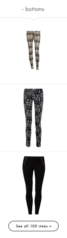 """""""- bottoms."""" by bloodypoetry ❤ liked on Polyvore featuring pants, leggings, bottoms, pantalones, print leggings, brown leggings, cream pants, patterned pants, patterned trousers and jeans"""
