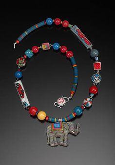 Cynthia Toops: Playtime Necklace, Necklace in polymer clay, beads, found objects, and sterling silver.