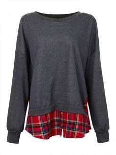 Women Plus Size Long Sleeve Splicing Plaids Hem Pullovers