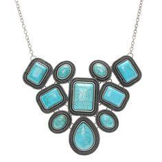 Turquoise Square Stone Bib Necklace