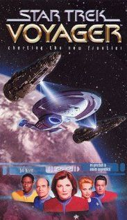 """""""Star Trek: Voyager""""  Pulled to the far side of the Galaxy, where the Federation is 75 years away at maximum warp speed, a Starfleet ship must cooperate with Maquis rebels to find a way home."""