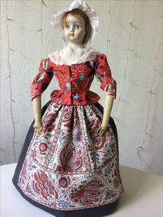 Chintz jacket with skirt and apron.