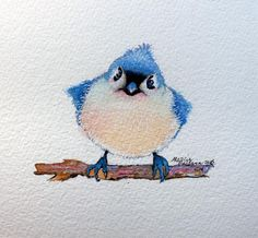 Art 'BABY BLUEBIRD WATERCOLOR 5X5' - by Marcia Baldwin from Wildlife