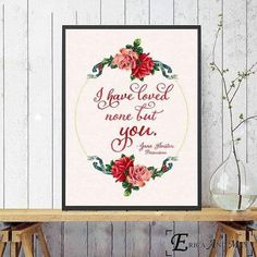 Floral canvas wall art surrounding one of Jane Austen's famous quotes from her romantic novels. Choose from: Emma, Persuasion and Pride & Prejudice. There are also seven different sizes to choose from. Please note the canvas is unframed. Little Sister Quotes, Sister Poems, Father Daughter Quotes, Father Quotes, Love Quote Canvas, Canvas Quotes, Wall Art Quotes, Quotes Quotes, Jane Austen Love Quotes