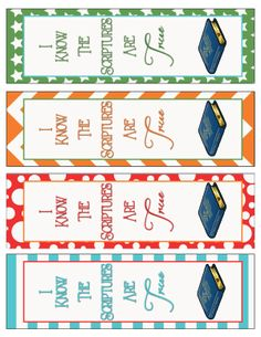 2016 Primary Theme I know the Scriptures Are True (Book of Mormon) BookMarks