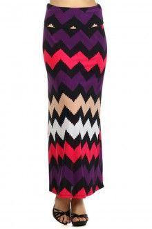 CHEVRON ZIGZAG STRIPED MAXI SKIRT WITH A FOLD-OVER-WAIST