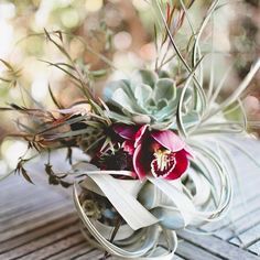 Bridal Bouquet with Tillandsia xerographica, succulents and orchids. #Wedding #Inspiration #Bouquet #Airplantsgr