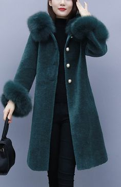 Gorgeous Celeb Style Leopard Chic Women Winter Faux Fox Mink Fur Long Coat Parka