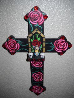 dat of the dead shrines   Pink RosesWood Day of the Dead Angel Shrine by VelvetBlackbirdArt