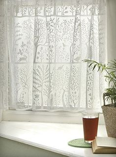 Curtains-Tiers-Rabbit Hollow-Heritage Lace-Nature-Folk Art – Expressions of Home Net Curtains, Crochet Curtains, Cafe Curtains, Kitchen Curtains, Country Curtains, White Lace Curtains, French Curtains, Kitchen Windows, Window Curtains
