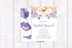 Purple Bridal Brunch Invitation Flower Bridal Brunch Invitation Floral Bridal Brunch Invitation Printable or Printed