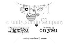 """Created by Angie Blom, Joslyn Nielson, Lisa Arana & Tifany DeGough. This kit contains 4 stamps.  String of hearts measures approximately 2.25"""" x 3"""".  """"you tug my {heart} strings"""" sentiment measures approximately .25"""" x 2"""".  """"i'm hung up on you"""" sentiment measures approximately .5"""" x 1.5"""".  """"I love you with newsprint background"""" sentiment measures approximately .5"""" x 1.75"""".  ***Please note that these stamp images and sentiments have been used in past kit of the months. If you are wonderi..."""