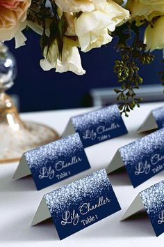 Silver Sparkle and Navy Wedding Place Card Tents, Place Cards, DIY Place Card Printable, Wedding Name Cards, Wedding Signs, Diy Wedding, Wedding Day, Trendy Wedding, Wedding Centerpieces, Wedding Table, Wedding Decorations, Centerpiece Flowers