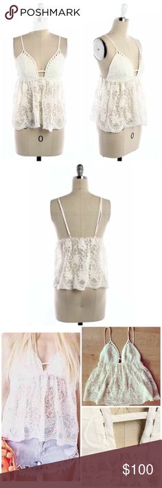 "NWT Millau by LF White Floral Embroidered Lace Top Millau by LF RARE White Floral Embroidered Lace Top  MSRP $139 • SOLD OUT EVERYWHERE   Size: XS  Measurements Length: 19""  Bust: 30""  Waist: 24""-28""   Featuring • elasticized band at back of bust • adjustable spaghetti straps • stunning floral lace crochet embroidery • lined bust & sheer lace body   NO trades or pp Bundle discounts available   item # 1/2JC163090MLF white lace floral embroidered summer layering crochet Millau Tops"
