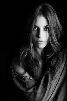 Stunning woman portrait in black and white