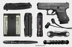 Gerber••Decree Folder + Capsule••Minimalist Wallet + Smith & Wesson••Tactical Pen w/Stylus + Leatherman••Wave + 5.11••TMT A1 Flashlight + Glock••36 .45 ACP + Nocs••NS500 Earphones + KeySmart••Standard in Black + Cold Steel••Koga SD1 Baton