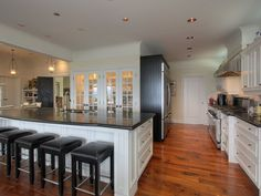 Love this kitchen with stove and refrigerator off to side