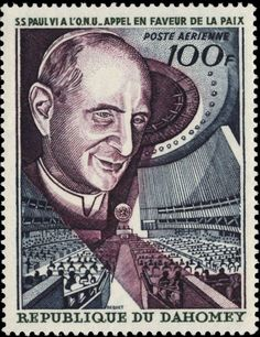 Dahomey 1966 Pope Paul VI and UN General Assembly.
