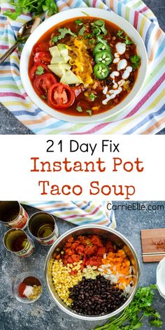 21 Day Fix Instant Pot Taco Soup via Carrie Lindsey 21 Day Fix Instant Pot Taco Soup via Carrie Lindsey More from my siteInstant Pot Lentil Soup Confessions of a Fit Foodie Healthy Taco Soup, Easy Taco Soup, Vegetarian Soups, Healthy Tacos, Healthy Chicken, Fixate Recipes, Soup Recipes, Healthy Recipes, Dinner Recipes