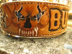 Leather dog collars leashes belts built to order by Acros...