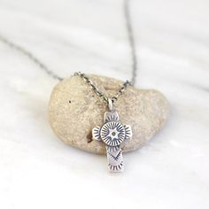 Little Southwest Cross Silver Necklace – Sarah DeAngelo Hand Stamped, Pendant Necklace, Chain, Sterling Silver, Antiques, Jewelry, Antiquities, Antique, Jewlery