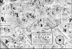 Love! Night club map of 1930s Harlem by the legendary cartoonist E. Simms Campbell via Vintage Black Glamour