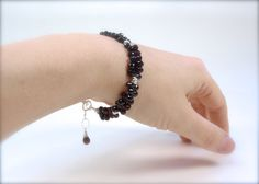 Garnet briolette bracelet with sterling silver. by RockRhapsody