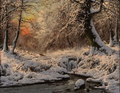 Winter stream by Laszlo Neogrady (Hungarian, Winter Landscape, Landscape Art, Landscape Paintings, Painting Snow, Winter Painting, Forest Painting, Dream Pictures, Pictures To Paint, Fantasy Paintings