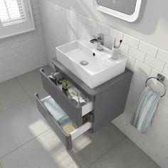 600mm Denver Gloss Grey Wall Hung Countertop Unit with Elisa Basin - soak.com