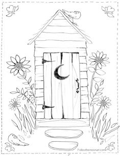Country Outhouse Bathroom Coloring Page
