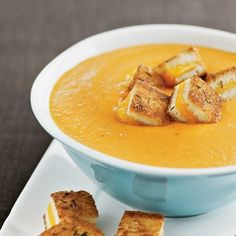 Roasted tomato soup with grilled cheese croutons in-the-kitchen