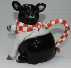 Heartfelt Black & White Farm PIG with red & white scarf