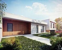 Projekt jednopoziomowego domu w bieli i drewnie