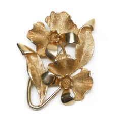 Vintage Gold Tone Double Viola Pansy Flower Brooch Pin Featuring Textured Design Finish With Leaf Accents by ClevelandFinds on Etsy