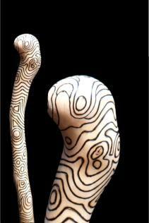pyrography art on walking sticks   Peter Drewett - 100 Walking Sticks