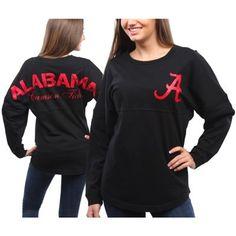 Women's Black Alabama Crimson Tide Pom Pom Long Sleeve Jersey Top