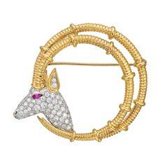 Estate Tiffany & Co. Schlumberger 18k Gold & Pavé Diamond Ibex Brooch