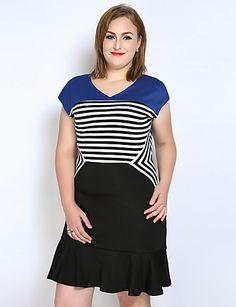 c8f52bf5b878 Per donna Taglie forti Vintage   Moda città Cotone Linea A   Fodero   T  Shirt Vestito - Con balze