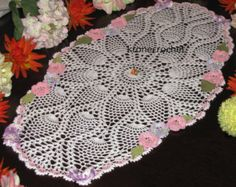 Brand new oval crochet doily with  flowers kronecrochet