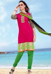 Pink Printed Silk Blend Dress Material