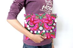 Purple Flower Clutch Coin Decoration HMONG Embroidered Fabric Thailand (BG306WC-PUF)