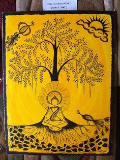 Buddha's Enlightenment - Warli art print
