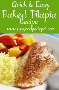 Baked Tilapia A delicious recipe for quick and easy tilapia. Super easy and it is really good!A delicious recipe for quick and easy tilapia. Super easy and it is really good! Fish Recipes, Seafood Recipes, Dinner Recipes, Cooking Recipes, Healthy Recipes, Baked Tilapia Recipes, Quick Recipes, Fish Dishes, Seafood Dishes
