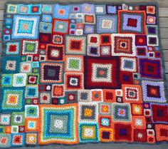 babette blanket - finished! by rettgrayson, via Flickr... Excellent use of color!