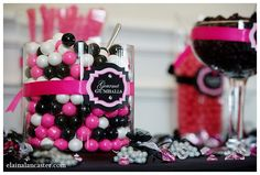 Hot Pink and Black candy Buffet: Closeup of labels supplied from my SweetLadera Etsy shop.